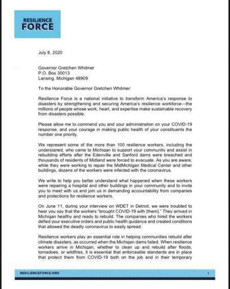 Letter to Whitmer